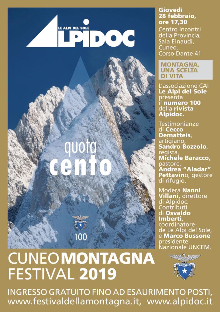Locandina Alpidoc 100 Cuneo Montagna Festival