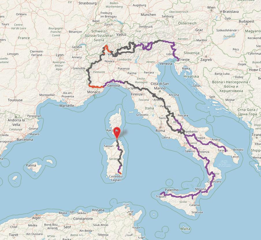 Sulla mappa il tracciato del Sentiero Italia si presenta in tre colori. GRIGIO è il tracciato storico del Sentiero Italia; VIOLA è il tracciato verificato del nuovo Sentiero Italia CAI; ROSSO è il tracciato verificato e segnato con i colori rosso-bianco-rosso ma non ancora con la specifica segnaletica del Sentiero Italia CAI che è in fase di realizzazione.
