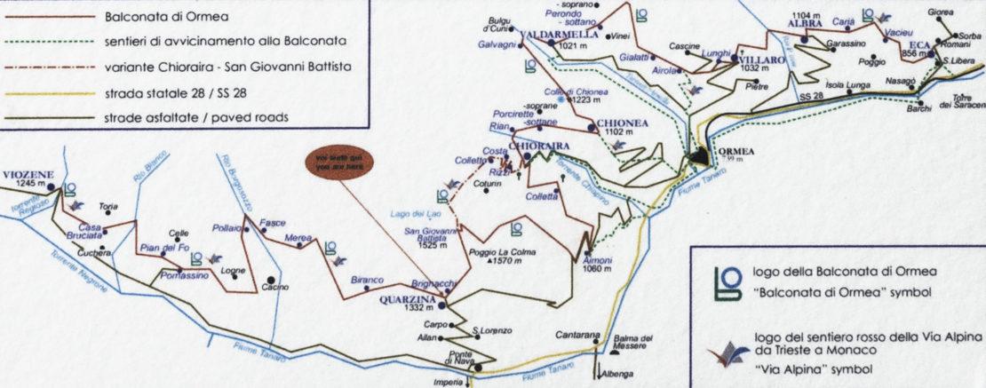 La posizione di Quarzina lungo la Balconata in un pannello realizzato dalla Sezione CAI di Ormea